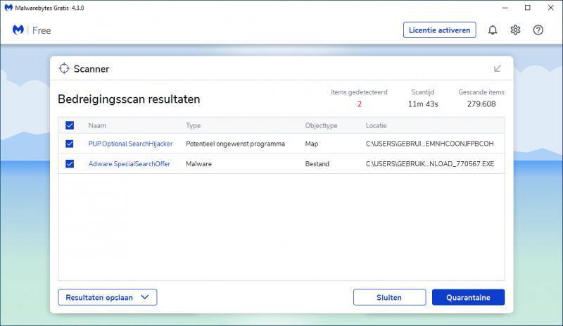 Uitgebreid scannen met Malwarebytes