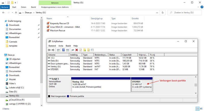 Ventoy multiboot USB-stick met meerdere ISO-bestanden