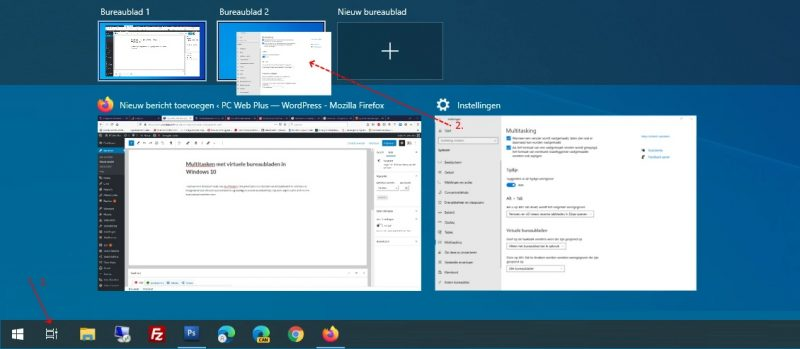 Virtuele bureaubladen in Windows 10 instellen
