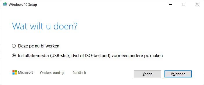 Windows 10 USB-stick maken met de Media Creation Tool