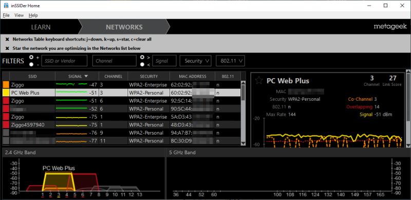 WiFi-kanaal controleren met inSSIDer