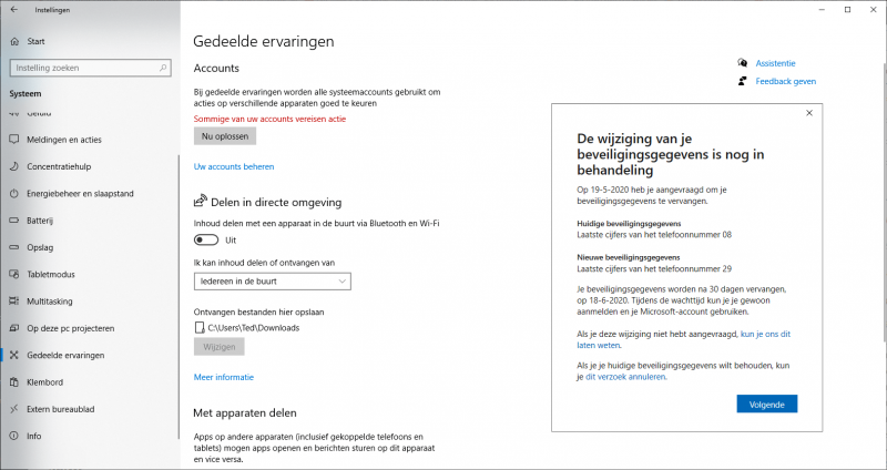 Wijziging beveiligingsgegevens Microsoft-account