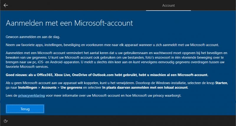 Windows 10 aanmelden met een Microsoft-account