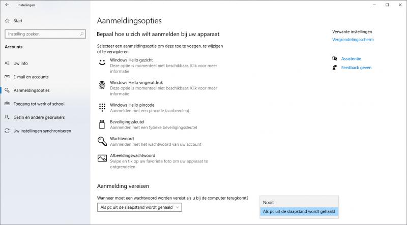 Windows 10 aanmeldingsopties wijzigen