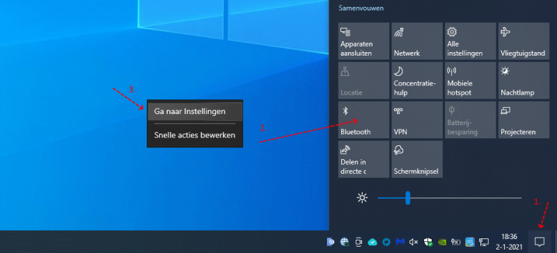 Windows 10 actiecentrum Bluetooth