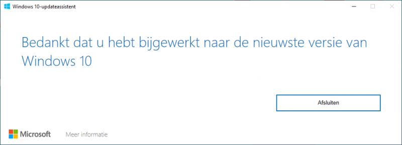 Windows 10 is bijgewerkt