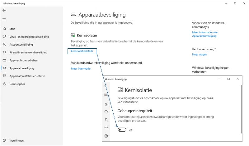 Windows 10 kernisolatie inschakelen