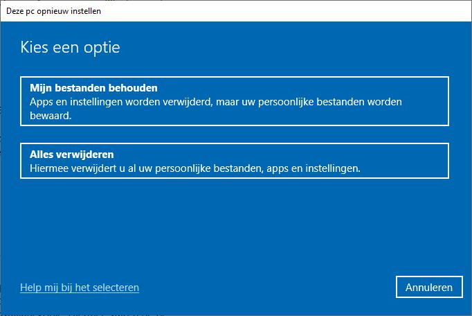 Windows 10 opnieuw installeren