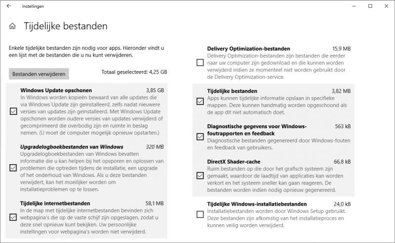 Windows 10 tijdelijke bestanden opschonen