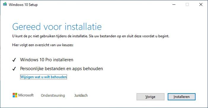 Windows 10 upgrade installatie voorbereiden
