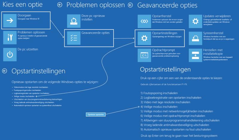 Windows 10 in de veilige modus opstarten
