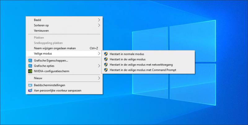 Windows 10 veilige modus via het rechtermuisknop menu