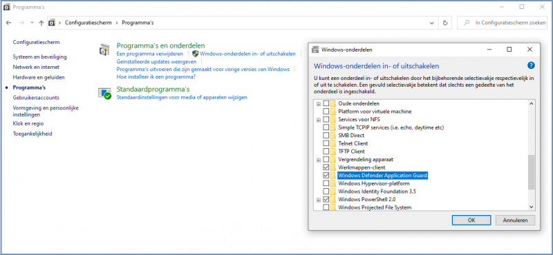 Windows Defender Application Guard inschakelen