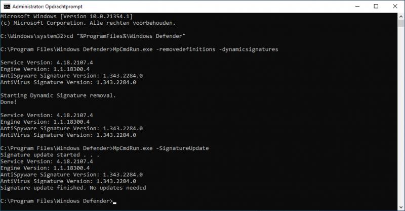 Windows Defender handmatig updaten