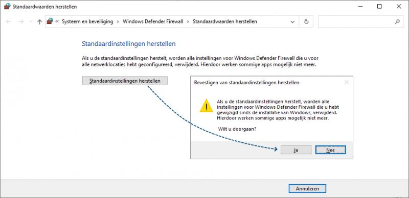 Windows Firewall herstellen