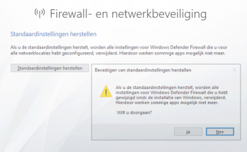 Windows Firewall herstellen naar de standaardinstellingen