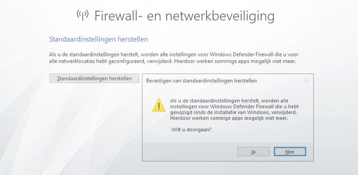 Windows Firewall herstellen naar de standaardinstellingen