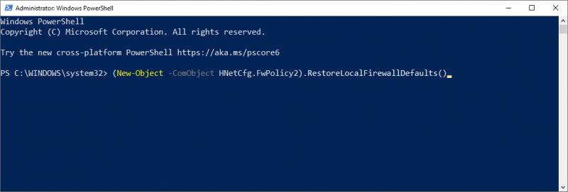 Windows Firewall restten via PowerShell