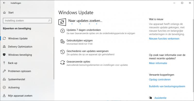 Windows Update blijft hangen of zoeken naar updates