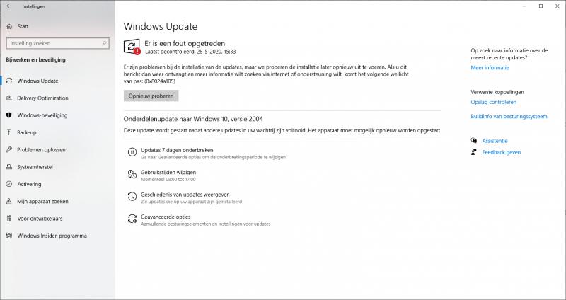 Windows er is een fout opgetreden 0x8024a105