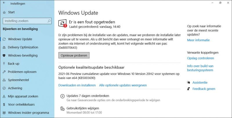 Windows Update foutcode 0x80070643