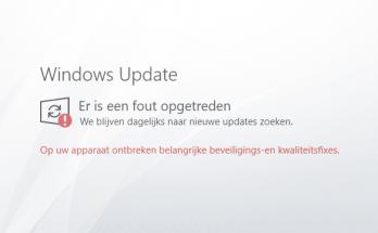 Windows Update er ontbreken belangrijke beveiligings- en kwaliteitsfixes