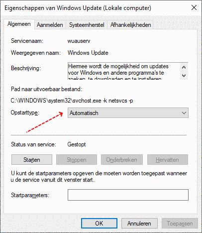 Windows Update service op automatisch instellen