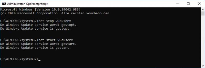 Windows Update service (wuauserv) herstarten via de opdrachtprompt