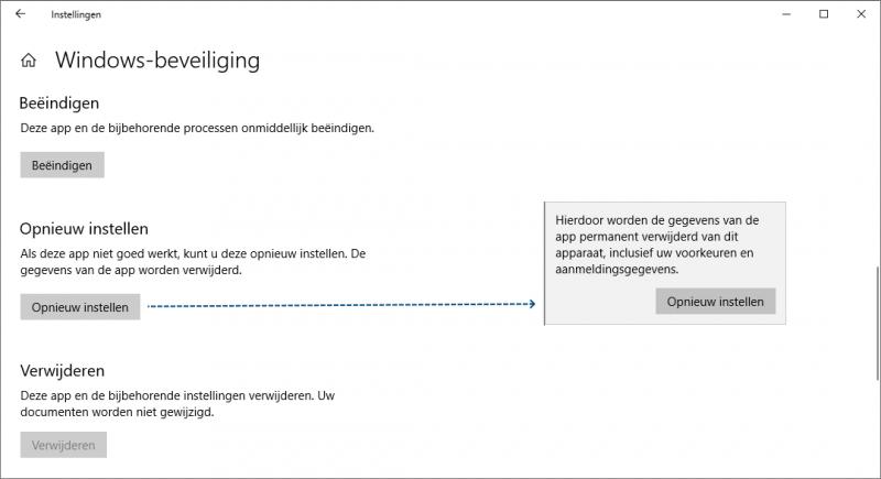 Windows beveiliging opnieuw instellen