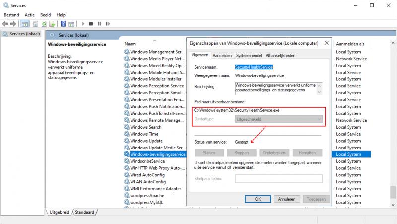 Windows-beveiligingsservice gestopt