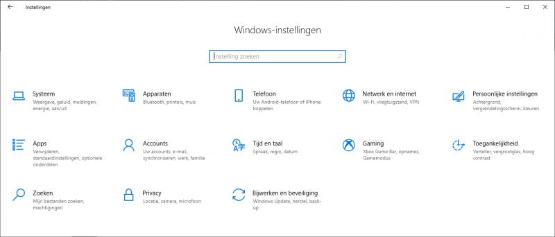 Windows-instellingen het nieuwe configuratiescherm