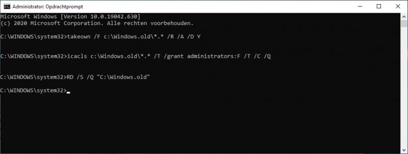 Windows.old verwijderen via de opdrachtprompt in Windows 10