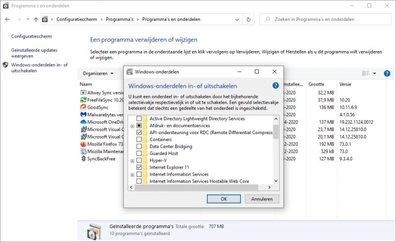 Windows onderdelen in- of uitschakelen