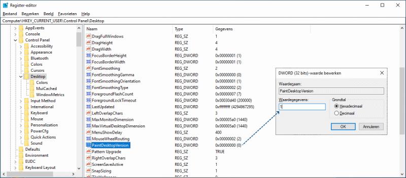 Windows versie op het bureaublad weergeven