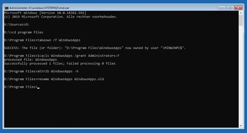 WindowsApps hernoemen in de opdrachtprompt 0x800705aa