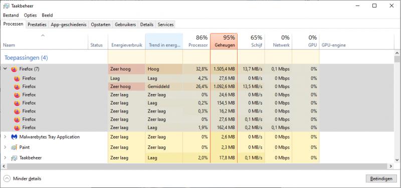 Zeer hoog geheugengebruik Firefox