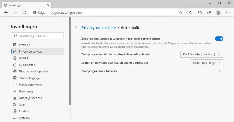 Zoekmachine veranderen in Microsoft Edge Chromium