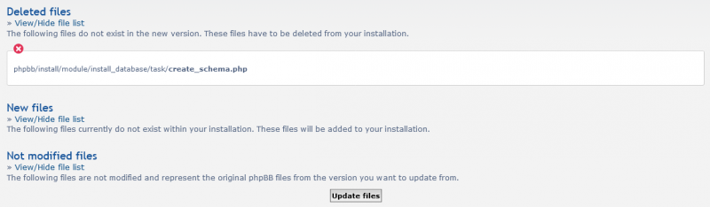 phpBB updaten - delteted files