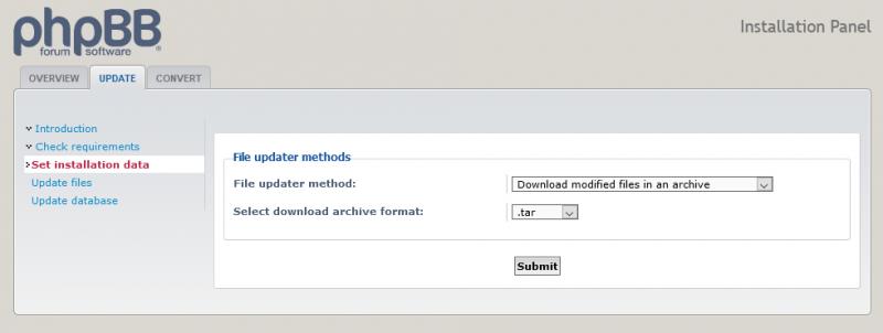 Opties voor de automatiche updater van phpBB