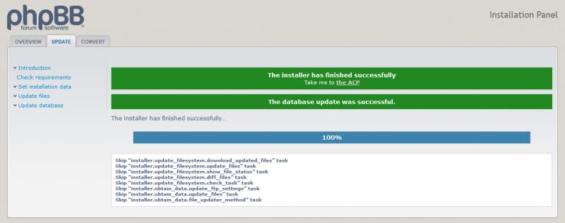 Update van phpBB via het volledige pakket